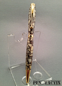 Slim style twist, crushed shell acrylic composition, gold accents